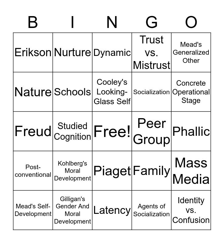 Sociology Bingo! Bingo Card