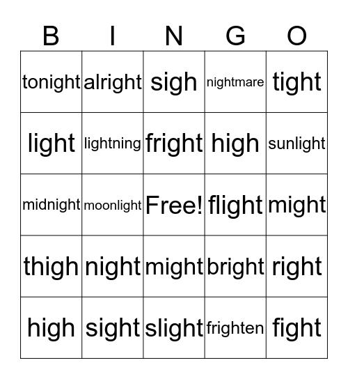 Long Vowels >>> igh = I Bingo Card