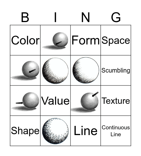 Elements and Value Bingo Card