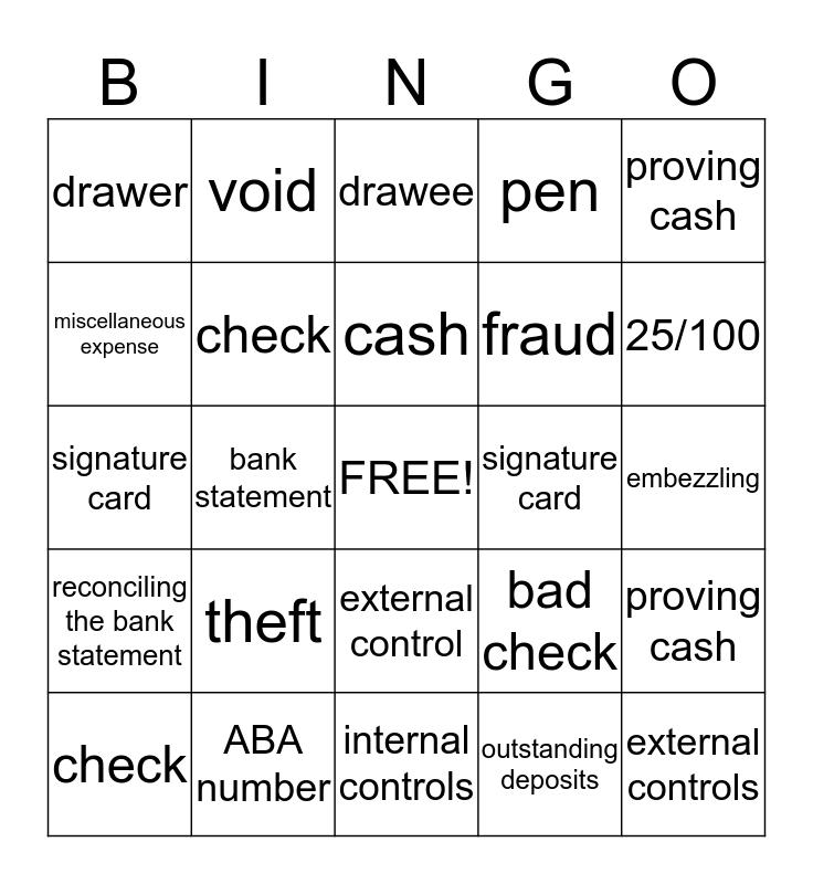 Checking Account Bingo Card