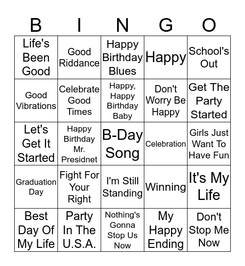 Today's Theme Bingo Card