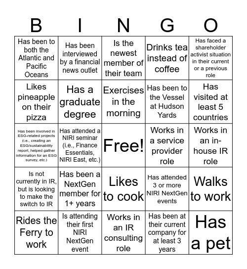NIRI NextGen Bingo Card