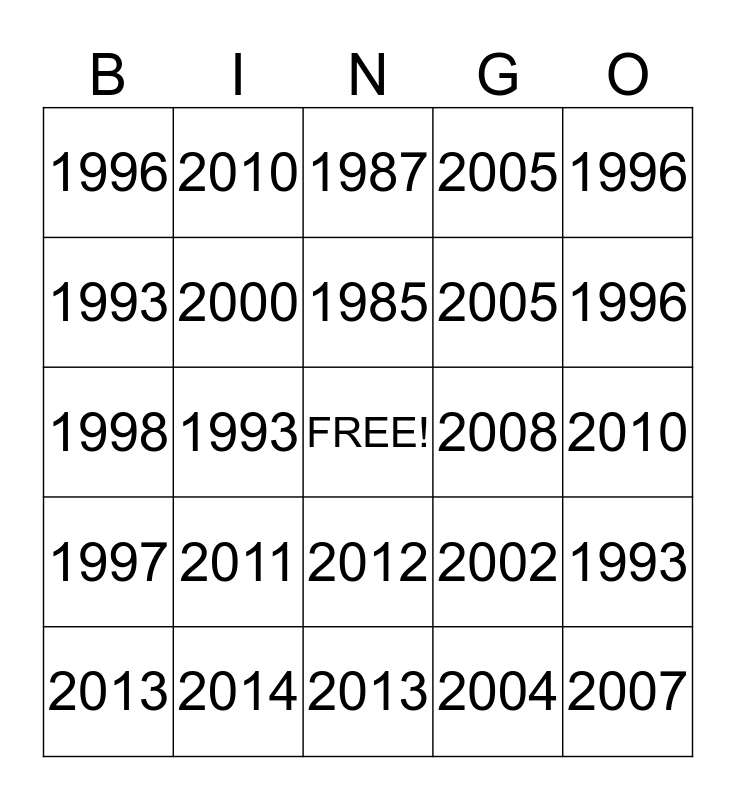 Kellie's 40th Birthday Bingo Card