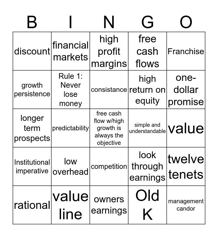 Buffett Bingo Card