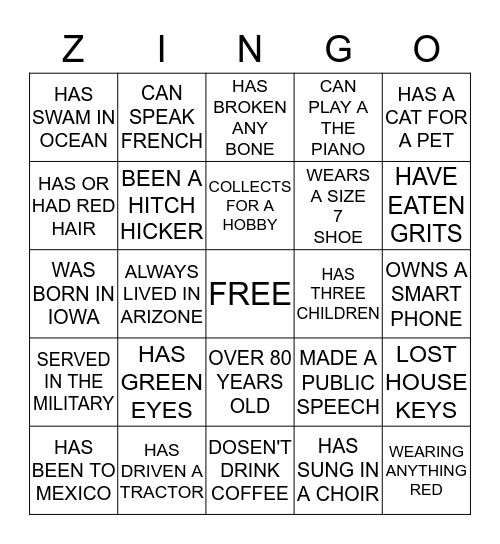 ZINGO Bingo Card