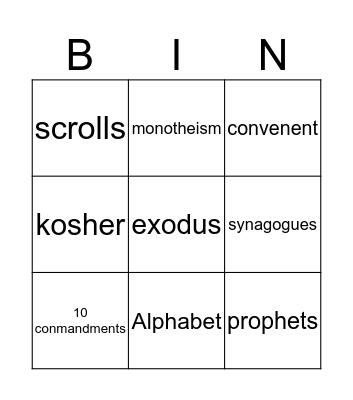 Judaism Bingo Card