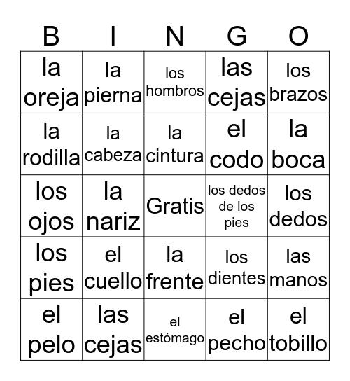 Spanish Body Parts Bingo Card