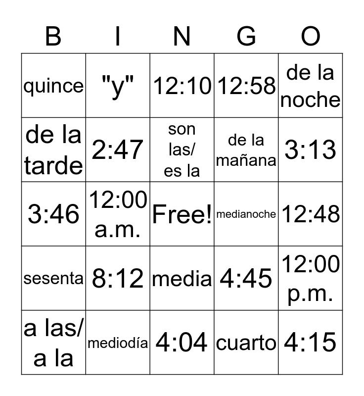 ¿Qué Hora Es? Bingo Card