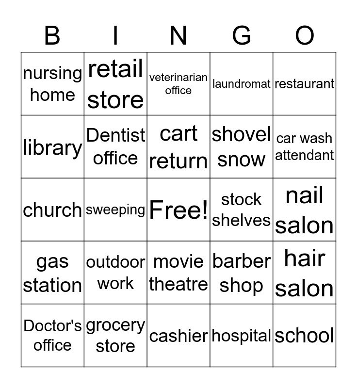 Jobs Bingo Card