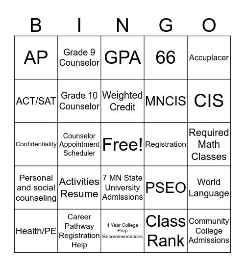 High School with a Purpose Bingo Card