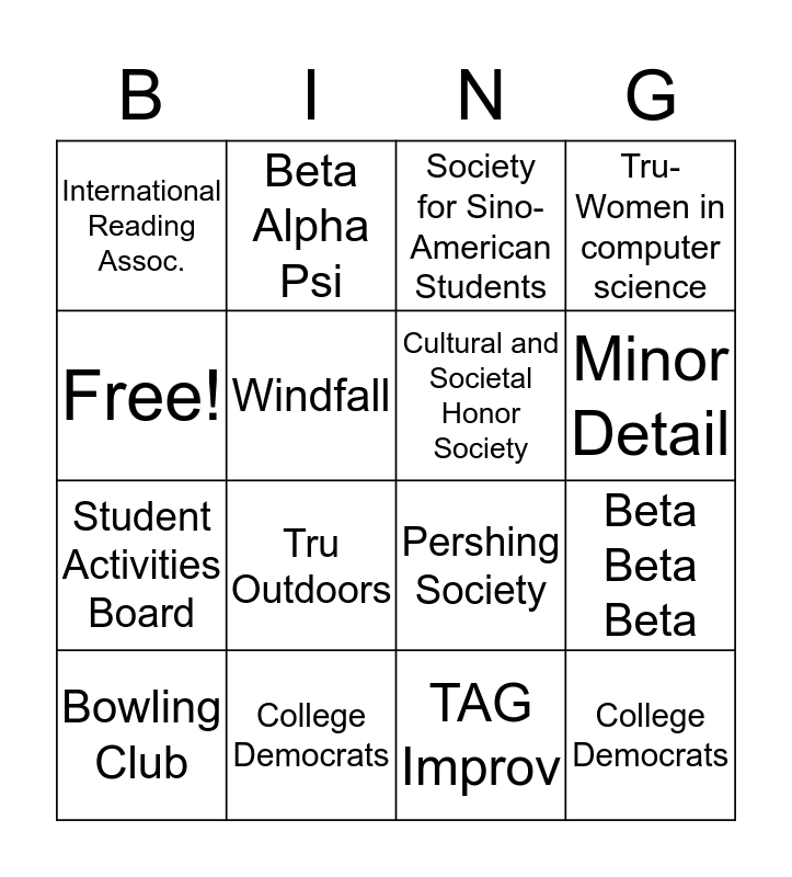 Student Orgs Bingo Card