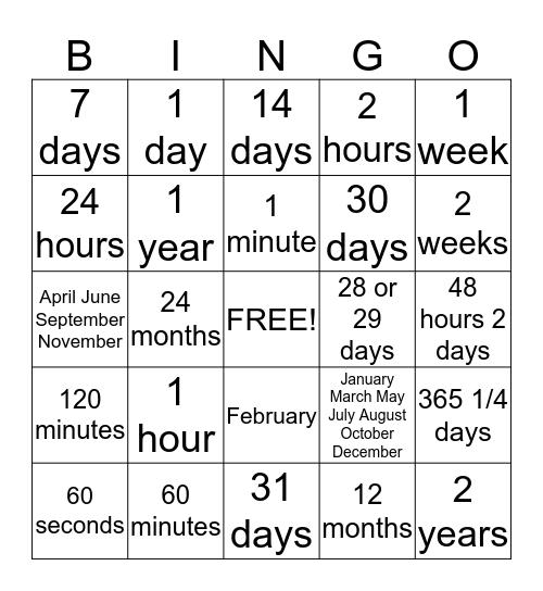 Equivalent Time  Bingo Card