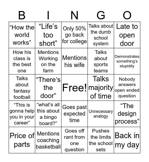 Zenk Bingo Card