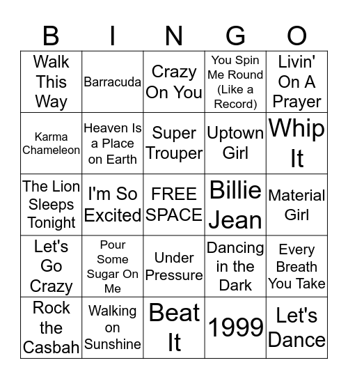 80's Music Bingo Card