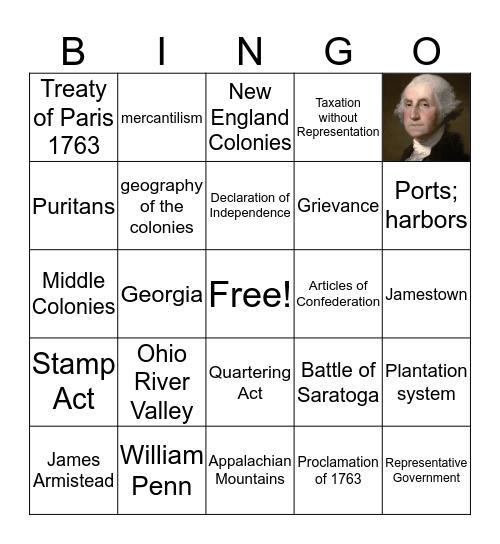 Colonization through Revolution Bingo Card