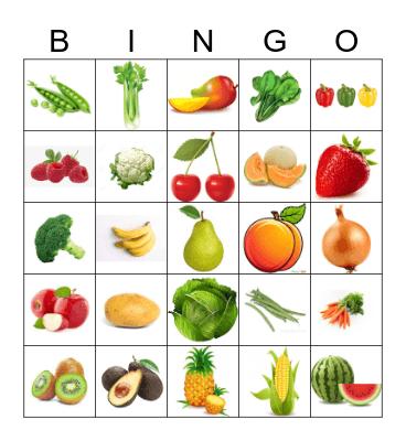 Fruit & Vegetables Bingo Card