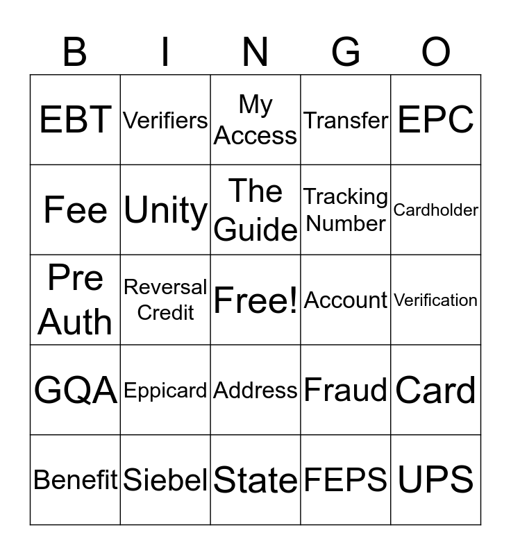 Customer Service Appreciation Bingo Card