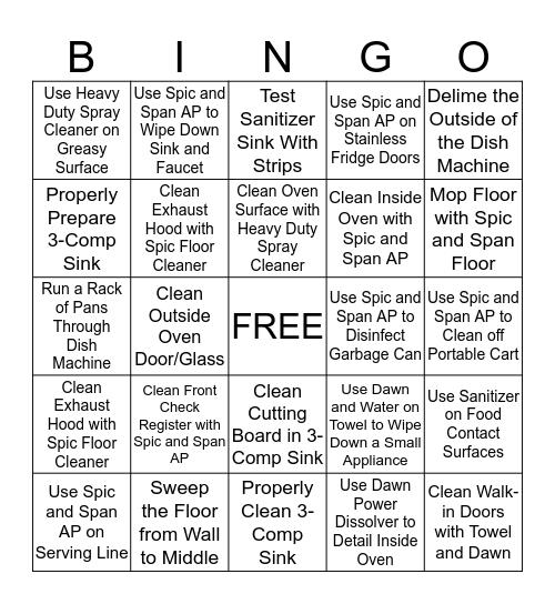 Kitchen Bingo Card