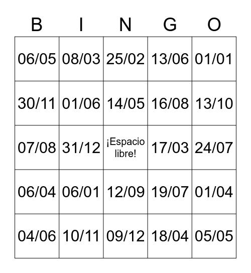 Bingo de fechas Bingo Card