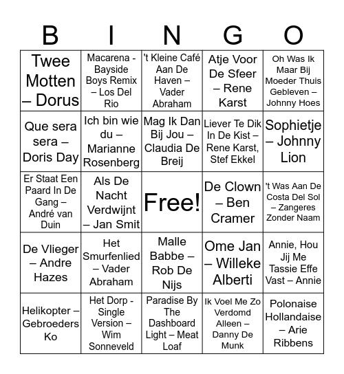Familie Krimp Bingo Card