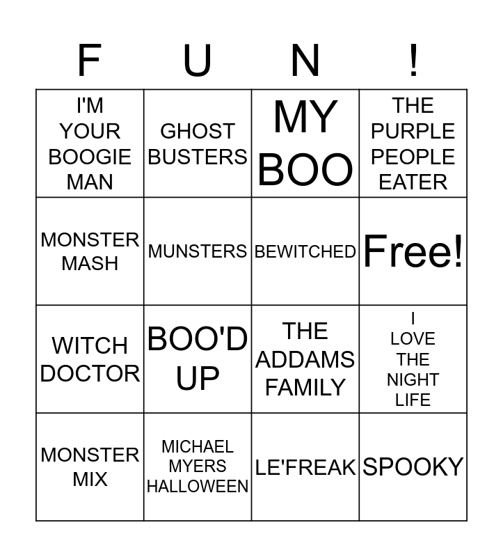 Halloween Songs Bingo Card