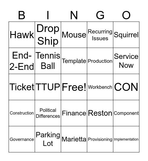 SN Project Systems Bingo Card