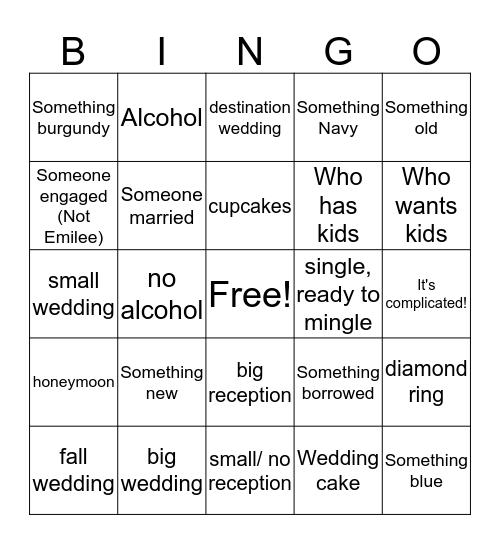 Emiliee Bingo Game Bingo Card