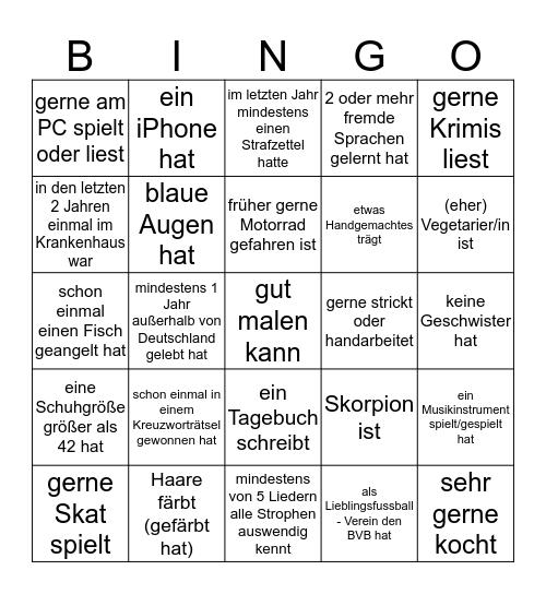 Besser-Kennenlern-Bingo: Finden Sie jemand, der/die... Bingo Card
