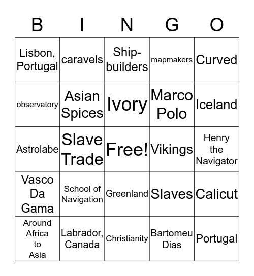 Europeans Set Sail  Bingo Card