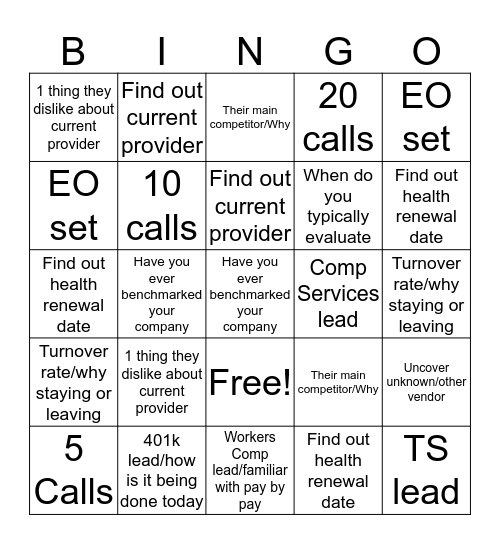 Cold Calling Bingo Card