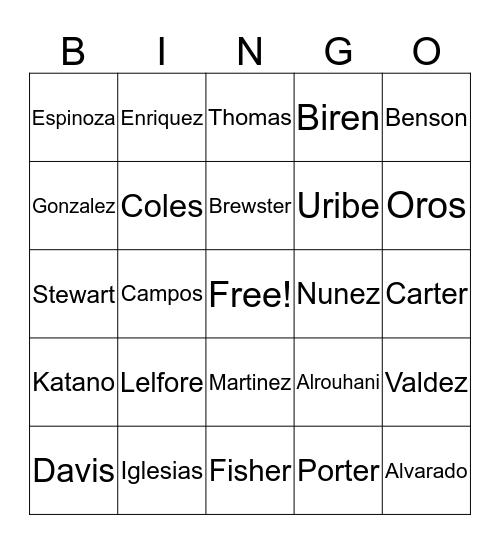 Name Bingo Card