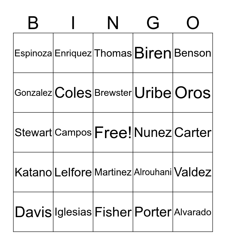 Name Bingo Card