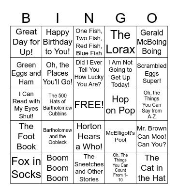 Dr Seuss Bingo Card