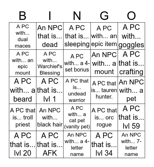 FNGN5: Orgrimmar Bingo Card
