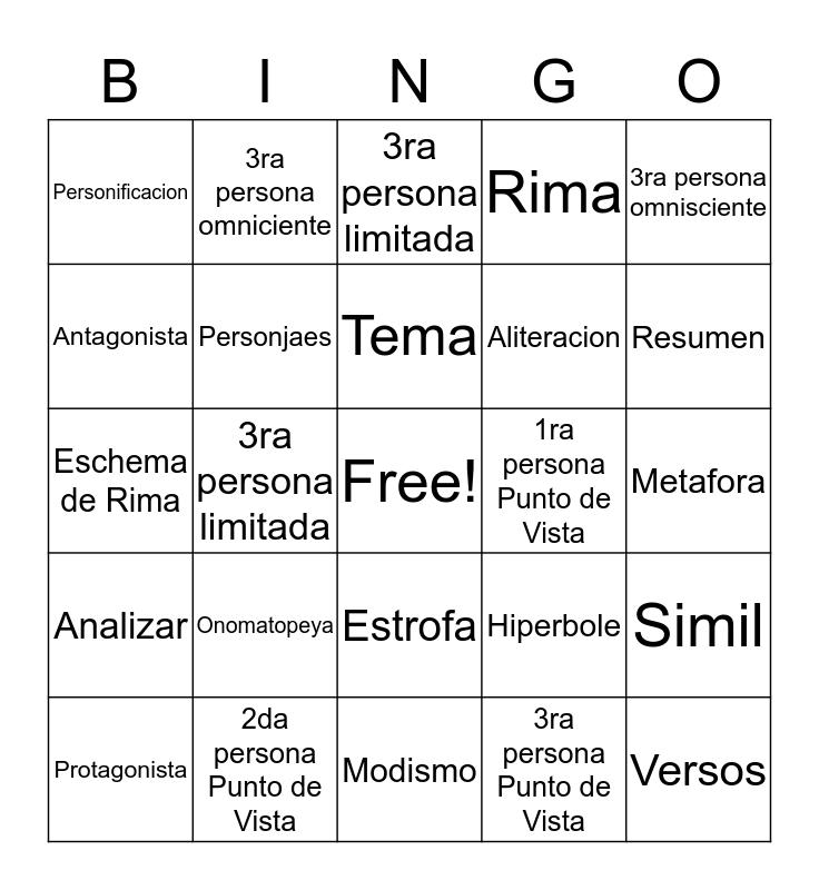Lectura Bingo Card