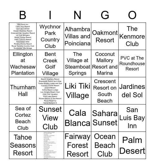 Diamond Resorts Bingo Card