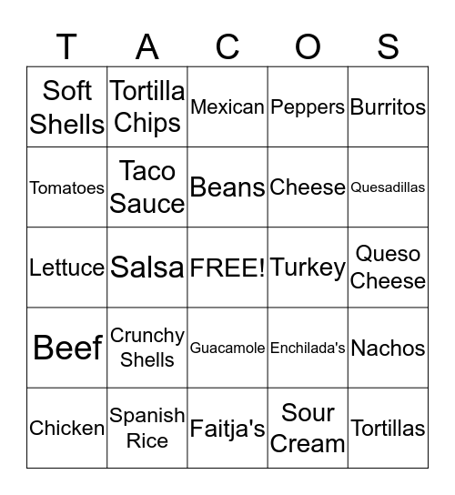 Taco Bingo Card