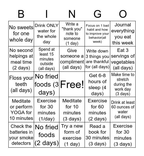 Fall Into Healthy Habits- Week 1 Bingo Card