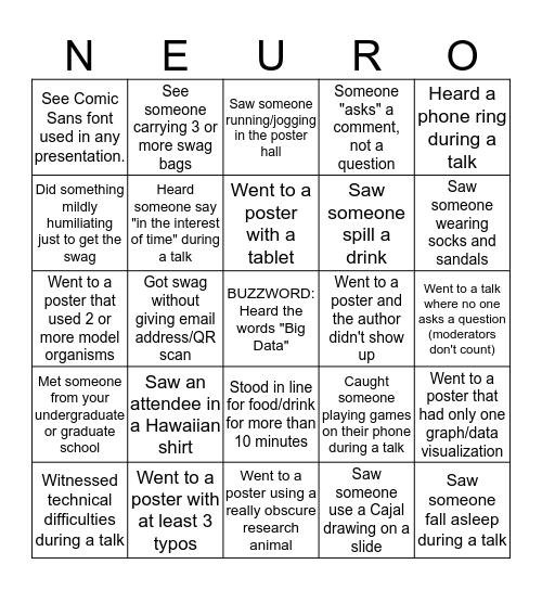 SfN NEURO-BINGO 2019 Bingo Card