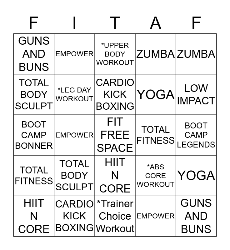 ANYTIME FITNESS BINGO Card