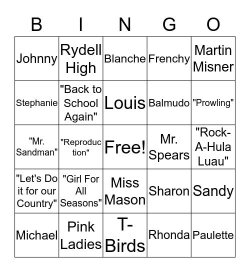 Grease 2 Bingo Card