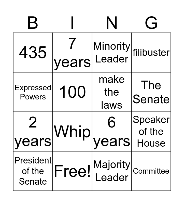 Legislative Branch Bingo Card