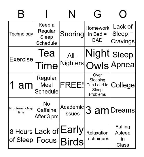 You Snooze You Lose Bingo Card