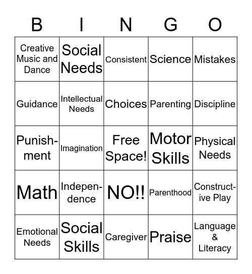 Parenting Bingo Card