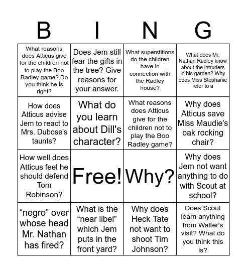 TKAM Study Guide Bingo Card