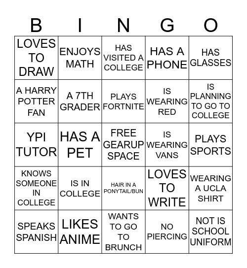 BINGO WITH FRIENDS Bingo Card