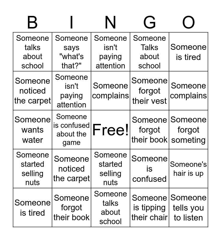 Girl Scout Meeting Bingo Card