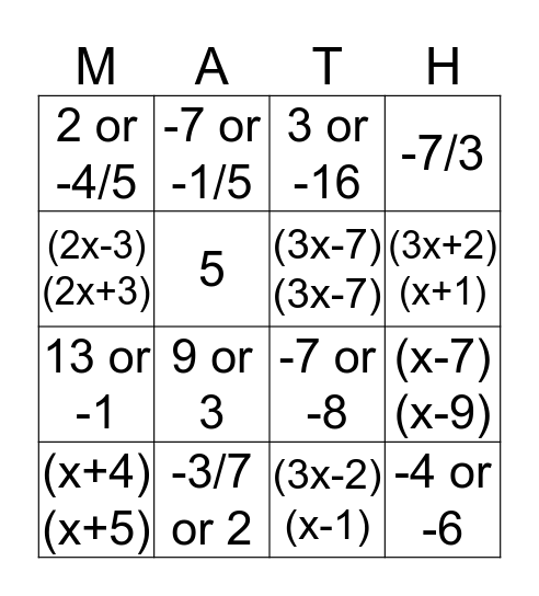 Factors and Zeros Bingo Card