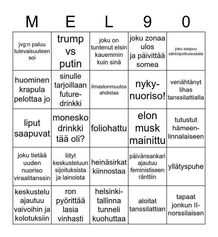 futuren kommer Bingo Card