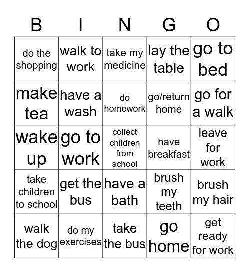 Daily Routine Bingo Card